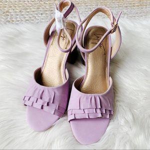 Latigo Purple Ruffled Front Block Heels